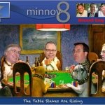 "The Minnov8 Gang around a poker table with the caption, ""The Tables Stakes Are Rising"""