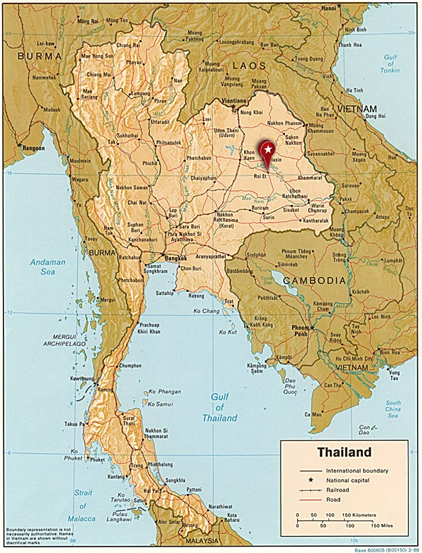 Roi Et Thailand  city images : Map of Thailand showing Roi Et click image for larger view